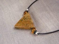 Halskette Speckstein Anhänger - handgefertigt - dreieckig -