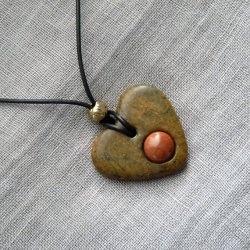 Halskette Herz aus Speckstein - Anhänger mit Goldfluss - Einzelstück -