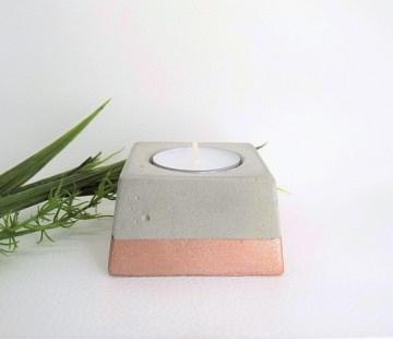 Beton Teelichthalter Metallic roségold - viereckig - handgefertigt