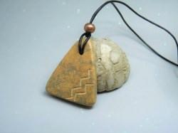 Kette Speckstein *Amulett* braun-grau - Unisex - handgefertigt