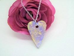 Halskette Beton Herz mit Acrylfarben - violett - handgefertigt