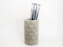 Beton Stiftehalter mit geometrischem Muster - handgefertigt