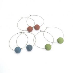 Creolen mit Beton-Perle - Farbwahl - Edelstahl 316 - handgefertigt