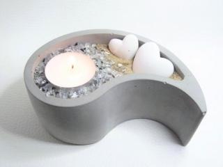 Beton Deko im Zen Design - Teelichthalter oder Pflanzgefäß - handgefertigt