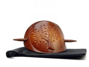 Haarspange Leder - OX Antique Life Tree Lebensbaum - Vickys World® - Kostenloser Versand