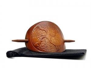 Haarspange Leder - OX Antique Dragon Tribal - Vickys World - Kostenloser Versand - Handarbeit kaufen