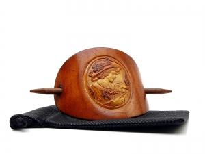 Haarspange Leder - OX Antique Cameo Friederike - Vickys World - Kostenloser Versand - Handarbeit kaufen