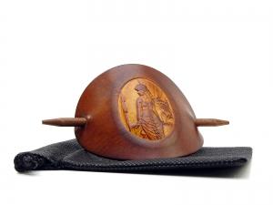 Haarspange Leder - OX Antique Cameo Dorothea - Vickys World - Kostenloser Versand - Handarbeit kaufen