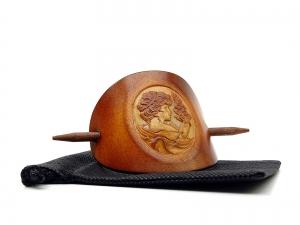 Haarspange Leder - OX Antique Cameo Margarethe - Vickys World - Kostenloser Versand - Handarbeit kaufen