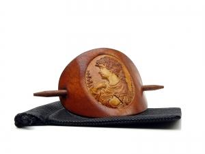 Haarspange Leder - OX Antique Cameo Sieglinde - Vickys World - Kostenloser Versand - Handarbeit kaufen