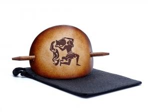 Haarspange Leder - OX Antique Sternzeichen Wassermann - Vickys World - Kostenloser Versand - Handarbeit kaufen