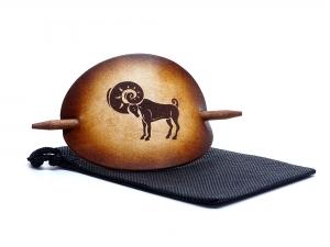 Haarspange Leder - OX Antique Sternzeichen Widder - Vickys World - Kostenloser Versand - Handarbeit kaufen