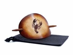 Haarspange Leder - OX Antique Sternzeichen Krebs - Vickys World - Kostenloser Versand - Handarbeit kaufen