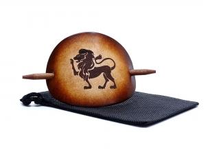 Haarspange Leder - OX Antique Sternzeichen Löwe - Vickys World - Kostenloser Versand - Handarbeit kaufen