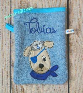 Waschlappen / Waschhandschuh aus Frottee bestickt mit Hund und Name