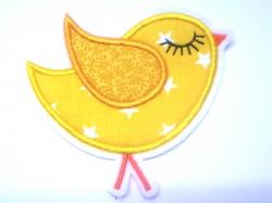 Aufnäher Vögelchen gelb Sterne Applikation