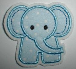 Aufnäher kleiner Elefant hellblau Applikation