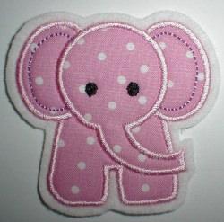 Aufnäher kleiner Elefant rosa Applikation