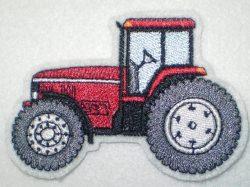 Aufnäher Trecker/Traktor rot-weiss Applikation