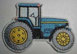 Aufnäher Trecker/Traktor blau-gelb Applikation