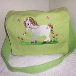 Kindergartentasche - Pferdchen - limette (ganz helles hellgrün)