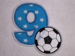 Aufnäher Zahl 9 mit Fußball Applikation
