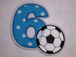 Aufnäher Zahl 6 mit Fußball Applikation
