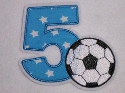 Aufnäher Zahl 5 mit Fußball Applikation