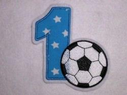Aufnäher Zahl 1 mit Fußball Applikation
