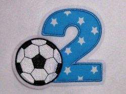 Aufnäher Zahl 2 mit Fußball Applikation