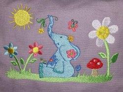 Kindergartentasche - lustiger Elefant - flieder