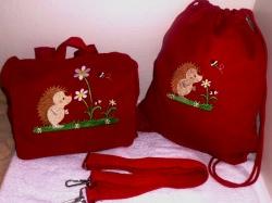 Kindergarten-Set Umhängetasche und Rucksack in EINS und Turnbeutel