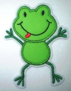 Aufnäher - frecher Frosch hellgrün - Applikation