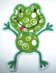 Aufnäher - frecher Frosch hellgrün Kringel/Kreise - Applikation