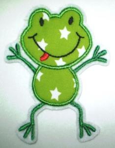 Aufnäher - frecher Frosch hellgrün Sterne - Applikation