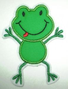 Aufnäher - frecher Frosch dunkelgrün - Applikation