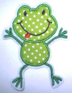 Aufnäher - frecher Frosch hellgrün Punkte - Applikation