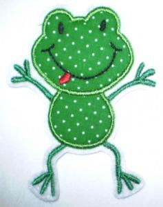 Aufnäher - frecher Frosch dunkelgrün Punkte - Applikation