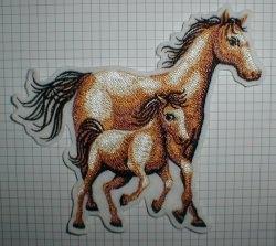 Aufnäher - Pferd mit Fohlen groß - Applikation