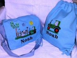 Kindergarten-Set Umhängetasche und Turnbeutel mit Namen