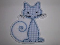 Aufnäher - Katze hellblau - Applikation