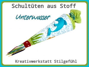 Schultüte aus Stoff Unterwasser incl. Name. Zuckertüte, Einschulung, Schulanfang, Handarbeit