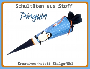 Schultüte aus Stoff Pinguin incl. Name. Zuckertüte, Einschulung, Schulanfang, Handarbeit