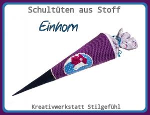 Schultüte aus Stoff Einhorn incl. Name. Zuckertüte, Einschulung, Schulanfang, Handarbeit