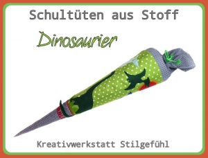 Schultüte aus Stoff Dinosaurier incl. Name. Zuckertüte, Einschulung, Schulanfang, Handarbeit