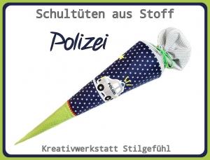 Schultüte aus Stoff Polizei incl. Name. Zuckertüte, Einschulung, Schulanfang, Handarbeit, Einzelstück