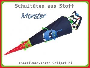 Schultüte aus Stoff Monster incl. Name. Zuckertüte, Einschulung, Schulanfang, Handarbeit