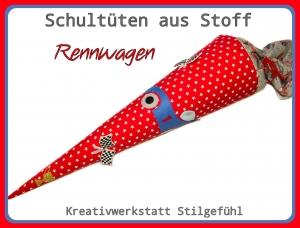 Schultüte aus Stoff Rennauto incl. Name. Zuckertüte, Einschulung, Schulanfang, Handarbeit, Einzelstück
