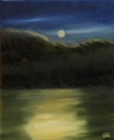 Mondnacht, Ölbild auf Leinwand auf Keilrahmen aufgezogen