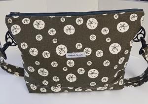 Umhängetasche braun/khaki  mit Kreisen  aus Baumwolle, Handmade by la piccola Antonella - Handarbeit kaufen
